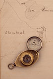 1872 hand drawn map and ancient compass