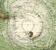 1875年南极洲古色古香的映射 免版税库存照片