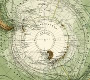 1875 Antique Map of Antarctica Royalty Free Stock Photos