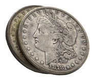 1878 Morgan silver dollars isolated white Stock Image