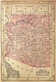 1880 kaart van Arizona Royalty-vrije Stock Fotografie