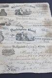 1880s Ingleses cinco notas da libra foto de stock