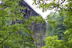 1887 iron railroad bridge through the trees Stock Photo