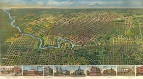 1891 de stadsplan van Houston Stock Fotografie