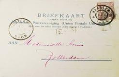 1899年明信片葡萄酒 库存照片