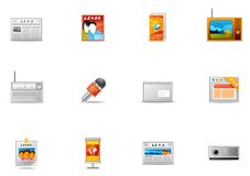 18种图标大众传播媒体pixio集 免版税库存图片