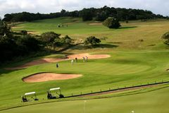 18th тележки текут класть отверстия гольфа зеленый Стоковое Изображение RF