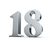 18th birthday. Rendering of a silver eighteen number Royalty Free Stock Photo