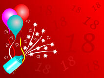 18th Birthday Party. An eightennth birthday party illustration with balloons and party poppers on a red graduated background with the number 18 in darker red Royalty Free Illustration