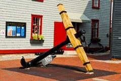 18th Century anchor, Newport, Rhode Island. A beautifully restored anchor on display in Bowen's Wharf, Newport, Rhode Island stock image