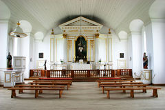 18th Century Chapel Interior. This is an 18th century chapel interior from the reconstruction of the Louisbourg Fortress in Nova Scotia, Canada Royalty Free Stock Image
