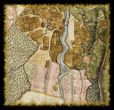18th century old map. With burned edges Royalty Free Stock Images