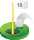 18th golf hole. Golf ball going into the 18th hole Royalty Free Stock Images