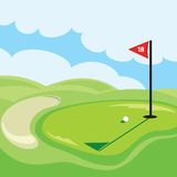 18th hole. A golf illustration created with vector shapes Royalty Free Stock Photography