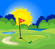 The 18th Hole. An illustration of the 18th hole on a golf course vector illustration