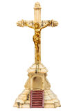 19ème Crucifix de siècle avec le chiffre d'or de Jésus Photo libre de droits