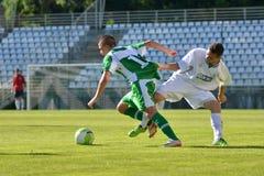 19下比赛kaposvar paks足球 免版税库存图片