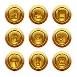 19个按钮金图标设置了万维网 库存照片