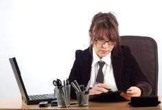 19名女实业家服务台 免版税库存照片