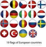 19 bandeiras de países europeus Foto de Stock Royalty Free