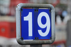 19 Dock sign. Dock number sign in Hamburg harbor Stock Photo