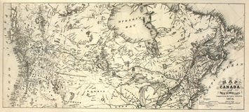 19. Jahrhundert-Karte von Kanada Stockfotos