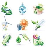 19 kreskówek ekologii ikony część setu stylu wektor Zdjęcie Stock
