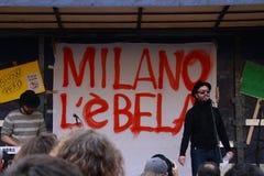 19 maart, 2011, Piazza Fontana, Milaan Royalty-vrije Stock Afbeelding
