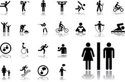 19. Pictographs of people. Big set icons - 19. Pictographs of people. Simple pictographs for your signs and design Royalty Free Stock Photos