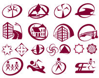 19 simple signs. On the topic of human, construction, sports, ecology Royalty Free Stock Photos