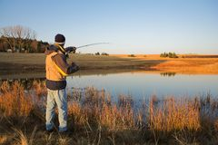 19 som flyfishing Arkivfoton