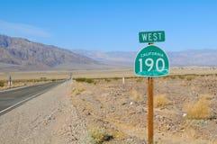 190 Road III. 190 Highway, California desert in Death Valley. Nevada, US Royalty Free Stock Image