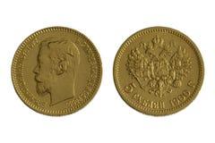 1900古色古香的币金查出的俄语 免版税库存照片