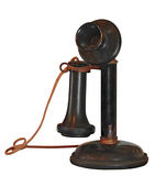1900's Candlestick Telephone on White. Old, dusty and worn stock image