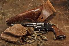 1901 American Made Revolver with Vintage Ammunitio Royalty Free Stock Photo