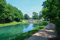1901 Stone Bridge. On the wabash and erie canal in Delphi, Indiana Stock Photos