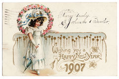 1907 Postcard. An old postcard celebrating the new Year of 1907 Royalty Free Stock Photo