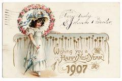 1907 Prentbriefkaar Royalty-vrije Stock Foto