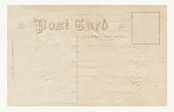1908 post card. Back of embossed antique post card from 1908 Royalty Free Stock Photo