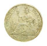 1908 rocznika Francja moneta z Francuską republiką Fotografia Royalty Free