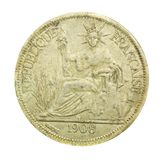 1908 vintage France coin with the French republic. On white Royalty Free Stock Photography