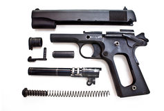 1911 Field stripped. Semi-automatic firearm that is disassembled and field stripped Stock Images