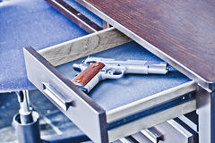1911 handgun in drawer Royalty Free Stock Photos