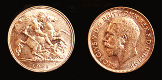 1915澳大利亚金半墨尔本造币厂的君主 免版税库存照片