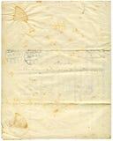 1916古色古香的纸张 库存照片