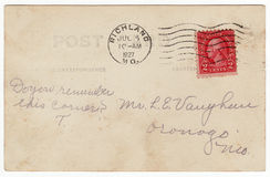 1920's Postcard Back with Red Stamp Royalty Free Stock Photos