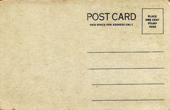 1920's Postcard, Natural Tone. Blank back of a late 1920's or early 1930's souvenir postcard.  Natural tone with black text Royalty Free Stock Photography