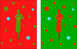 1920s Woman Holiday Illustrations. A red woman in 1920s fashion on a green background and a green woman in 1920s background on a red background xmas royalty free illustration