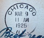 1925个美国人芝加哥邮戳 免版税库存照片