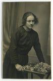 1925 antika originella fotokvinnabarn Arkivbilder